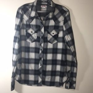 True Religion snap Button Shirt  GinghamFlannel L